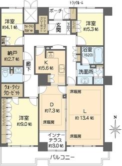 ジーニス大阪WEST棟の間取図