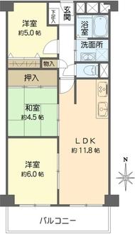 日商岩井野江マンションの間取図