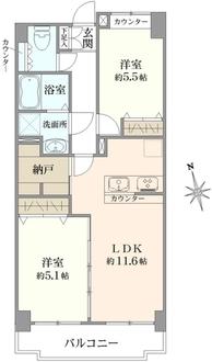 パルミナード多摩川 弐番館の間取図