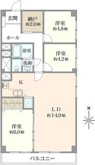 妙蓮寺ハウスB棟の間取図