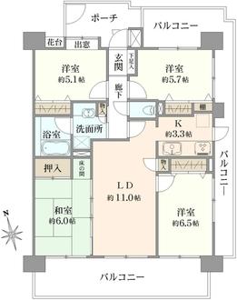 コスモ平井パークビューの間取図