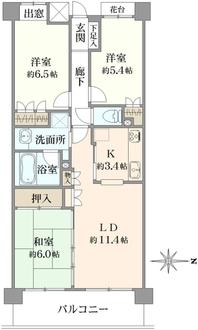 コスモ江戸川中央ガーデンコートの間取図