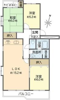グリーンハイム弥生台A地区2号棟の間取図