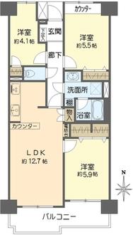 東戸塚ガーデンハウス壱番館の間取図
