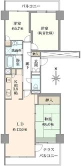 ニューシティ東戸塚アーバンハイツ丘の街6号棟の間取図