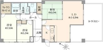 東急ドエル・横浜ヒルサイドガーデン参番館の間取図