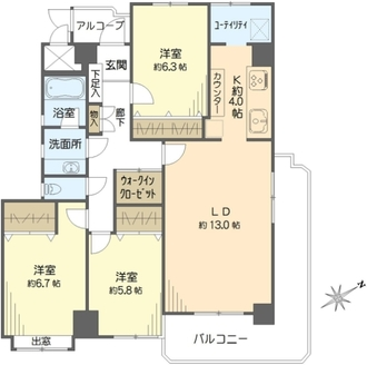 戸塚グリーンヒルダイヤモンドマンションの間取図