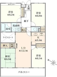 ヒルズ戸塚ガーデニアA棟の間取図