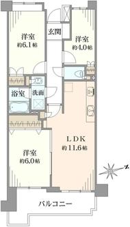 シティクレスト横浜上永谷壱番街の間取図