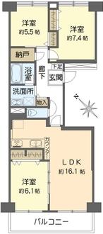 ニューシティ東戸塚南の街2号館の間取図