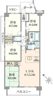 エステ・ヴィラ横浜上永谷 センターコリーナの間取図