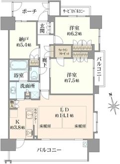 クリスタルグランツ江坂広芝町の間取図