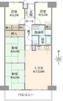 ファミールハイツ北大阪1号棟の間取図