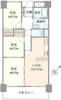 リバライン井高野三号棟の間取図