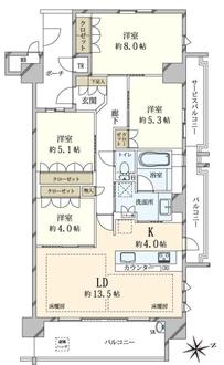 ブランズシティ西宮香櫨園の間取図