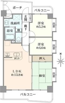 ライオンズマンション武蔵中原第5の間取図