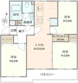 長津田団地16号棟の間取図