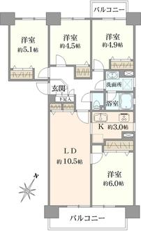 若葉台団地1-11号棟の間取図