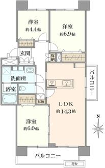 若葉台団地2-18号棟の間取図