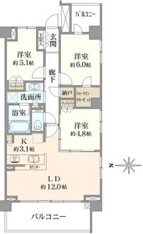 シティハウス横濱鶴見ステーションコートの間取図
