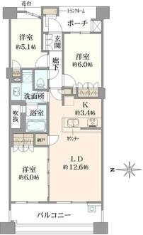 プラウド横濱鶴見二見台の間取図