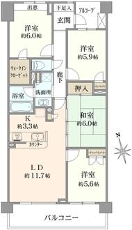 リーデンススクエア横浜鶴見の間取図