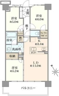 オーベルグランディオ横浜鶴見コンフォートテラスの間取図