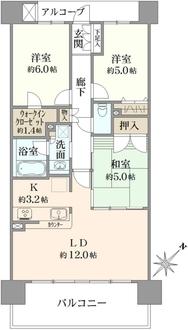クレストシティタワーズ浦安ガーデンタワー棟の間取図