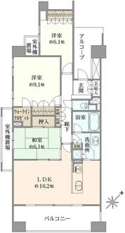稲毛海岸パークホームズ弐番館フィールドサイドの間取図