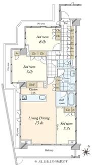 グランドメゾン目黒東山パークフロントの間取図