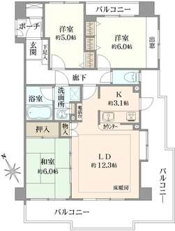 パルミナード武蔵新城弐番館の間取図