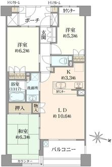 エルヴェール神戸本山アーバンライフの間取図