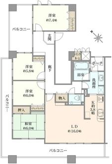 神戸海岸通ハーバーフラッツ7番館の間取図