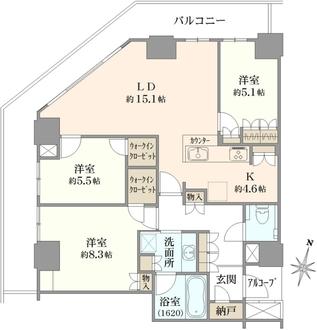 ザ・パークハウス神戸ハーバーランドタワーの間取図