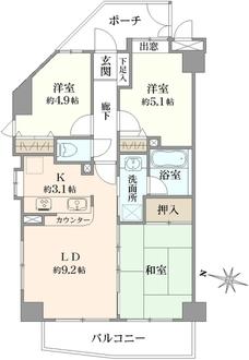 ライオンズマンション西新井高道公園の間取図