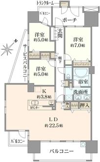東京フロンティアシティアーバンフォート ウエストブロックの間取図