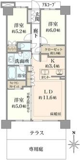 東綾瀬公園ハイライズ シーズンスクエアの間取図