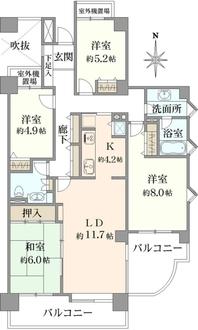 コープ野村クローバー・シティ与野壱番館の間取図