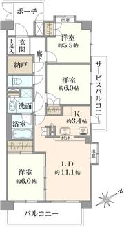ヴェル・ステージ武蔵浦和の間取図