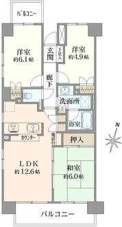 浦和南パーク・ホームズ弐番館の間取図