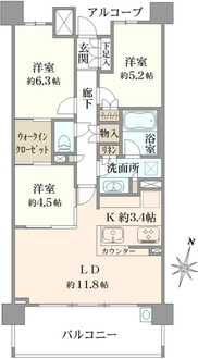 ザ・パークハウス武蔵浦和の間取図