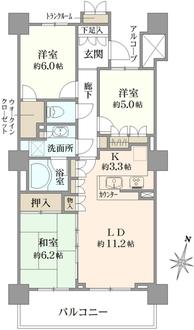 プラウドタワー武蔵浦和テラスの間取図