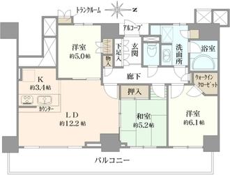 プラウドタワー武蔵浦和ガーデンの間取図