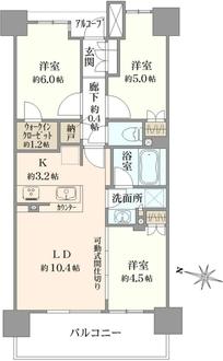 武蔵浦和SKYGARDEN D棟の間取図