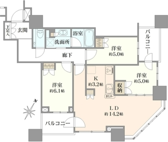 プラウドタワー武蔵浦和マークスの間取図