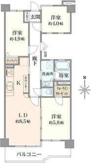 川崎第2ダイヤモンドマンションの間取図