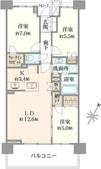 プラウドシティ新川崎の間取図