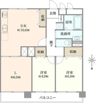 南幸 第二KSマンション A棟の間取図