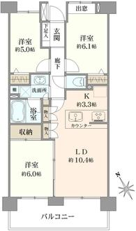 コスモ川崎宮前町の間取図