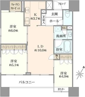 エクセレントシティ川崎の間取図